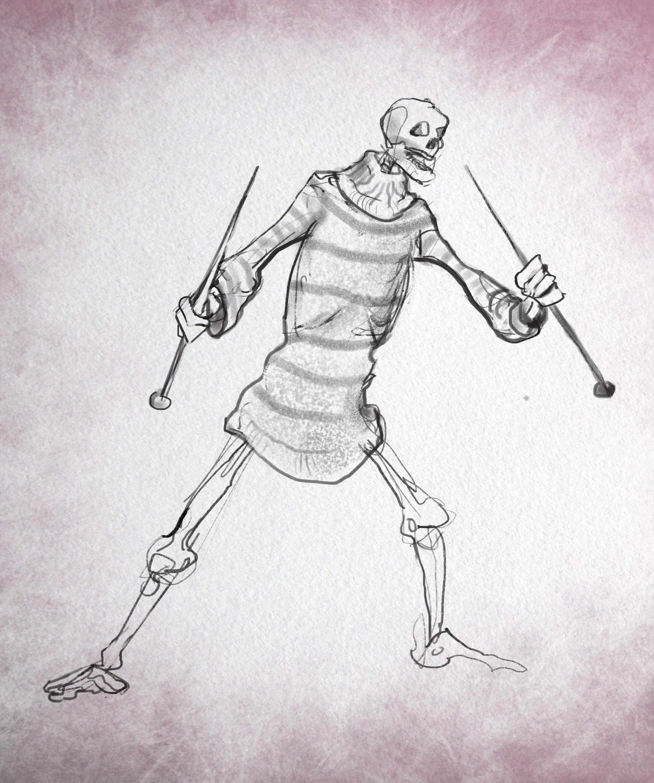 Skeleton in a jumper.